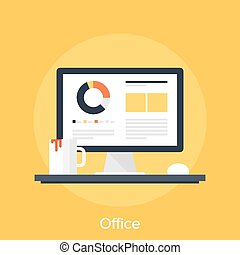 Office - Vector illustration of office flat design concept.