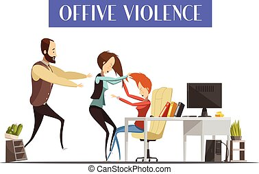 Office violence with fight of women in workplace man running toward them and interior elements vector illustration