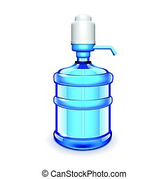 Office water bottle with pomp isolated on white vector -...