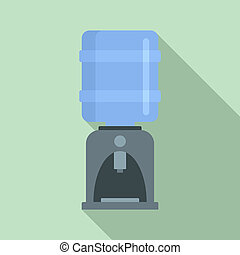 Office water dispenser icon, flat style