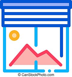 office window icon vector outline illustration