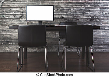 Office with blank white pc