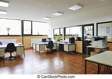 office with computers indoor - bright empty office indoor ...
