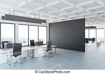Office with dark banner
