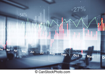 Office with forex chart