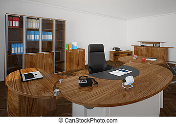 Office with wooden furniture and black boss seat