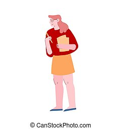 Office Woman Carry Document Files and Pencil in Hands. Businesswoman, Secretary Character, Employee at Work, Very Busy Day Accounting Bureaucracy Manager or Student. Cartoon Flat Vector Illustration