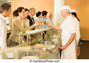 Office woman in canteen cook serve meals - Business...