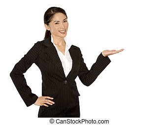 office woman - pretty asian wearing business outfit on white...