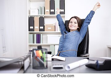 Office Woman Sitting on Chair Stretching her Arms - Happy...