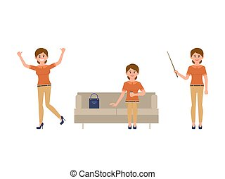Office woman sitting on sofa, jumping, standing with wooden pointer cartoon character