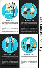Office Work and Business Idea Vertical Posters