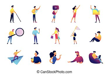 Office work and leisure time vector illustrations set. -...