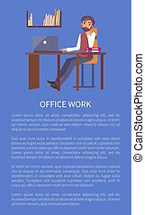 Office Work Banner Text Sample and Man Workplace