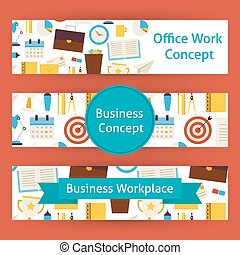 Office Work Concept Vector Template Banners Set in Modern Flat Style