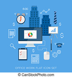 Office work flat vector icons or symbols set