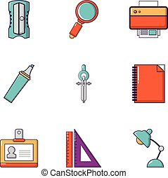 Office work icons set, flat style
