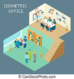Office work. Isometric flat 3d about office staff. Work and ...