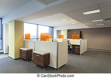 Office - Work place and desks in a modern office interior