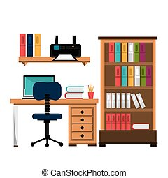 office work place isolated icon design