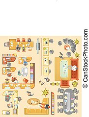 Office work place layout vector flat plan details