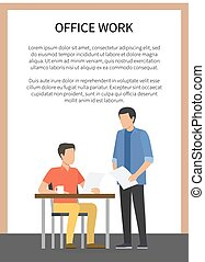 Office Work Poster with Text Vector Illustration