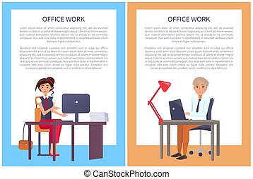 Office Work Posters with Text Sample Woman and Man