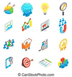 Office work set icons, isometric 3d style