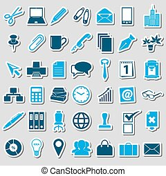 office work theme simple blue stickers collection eps10