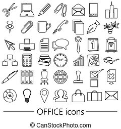 office work theme simple outline icons collection eps10