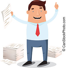 Office worker and piles of papers - Happy office worker in ...