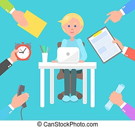 Office Worker and Tasks Set Vector Illustration