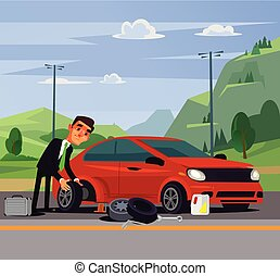 Office worker businessman man character changing fixing car ...