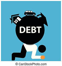 Office Worker carry house, school fees, and car debt. The Vector Illustration is showing the concept of Financial.