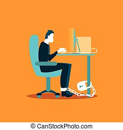 Office worker chained to a chair in the workplace. Illustration