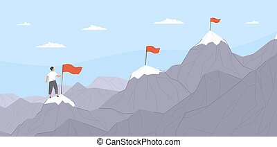 Office worker climbing up mountains or cliffs and moving to final destination point. Concept of gradual business development, successive steps to goal achievement. Flat cartoon vector illustration.