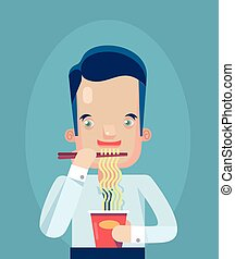 Office worker eating