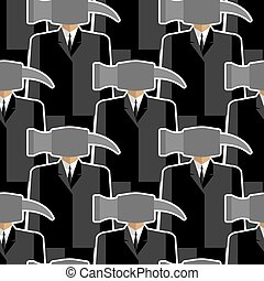 Office worker hammer seamless pattern. People-tools. Good working. Office plankton. Vector background.