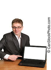 Office worker holding blank computer monitor