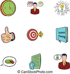 Office worker icons set, cartoon style