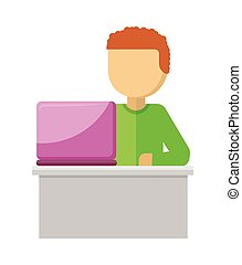 Office Worker Illustration. Man with Notebook
