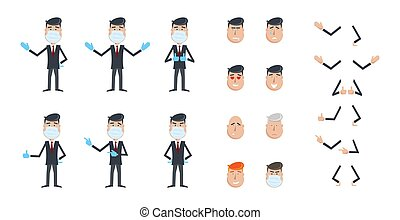 Office worker in protective mask and gloves. Quarantined man. Self-isolate. Smiley set. Businessman isolated on white background. Vector constructor. Illustration, EPS 10.