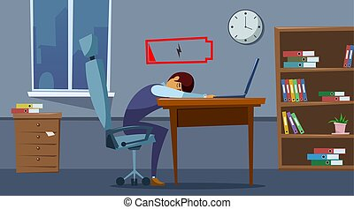 Office worker is sitting at the table with a low battery charge indicator.