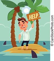 Office worker man character lost on desert island between shark. Vector flat cartoon illustration