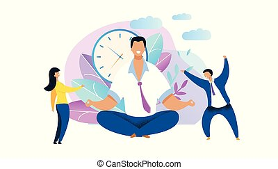 Office Worker Meditating Flat Vector Illustration. Relaxed Businessman in Lotus Position. Calm Employee Oppose to Stressed, Nervous Workers. Time Management Concept. Clock, Plants, Nature Background
