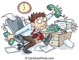 Office Worker - Office worker working hard and waiting for...