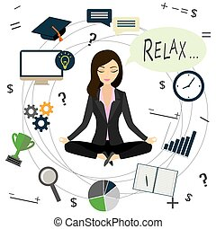 Office worker or business woman relaxes after work,