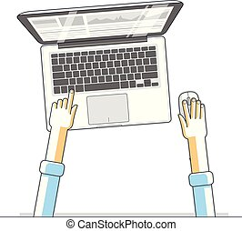 Office worker or entrepreneur businessman working on a PC computer laptop, top view of workspace desk with human hands, overhead look. Vector illustration.