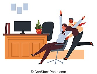 Office worker pushing chair with seated colleague at break...