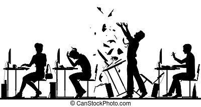 Editable vector silhouette illustration of a frustrated office worker throwing his desk over with all elements as separate objects